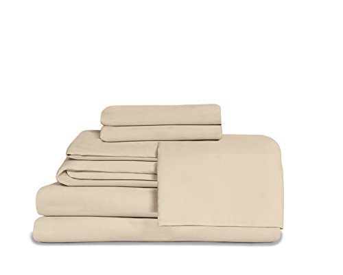Effortless Bedding Microfiber Oversized 4 Piece Sheet Set, Featuring Fitted Top Sheet (Twin, Sand Shell)