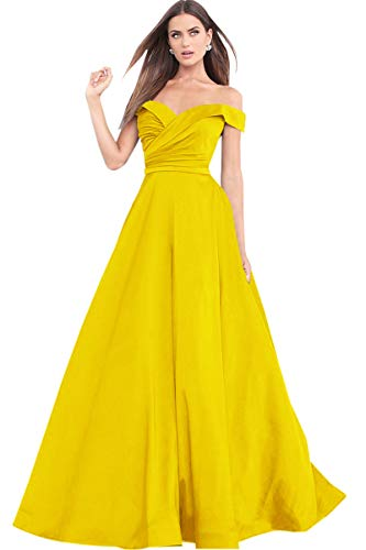 Women's A Line Off The Shoulder Ruffled Satin Party Dress Long Formal Evening Gown Yellow Size 4