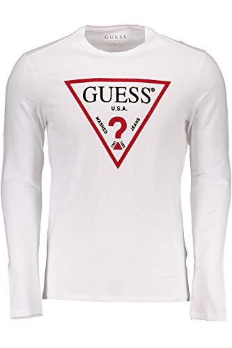 Guess Bianco A Uomo Maniche Maglietta Lunghe cq3R4jSAL5