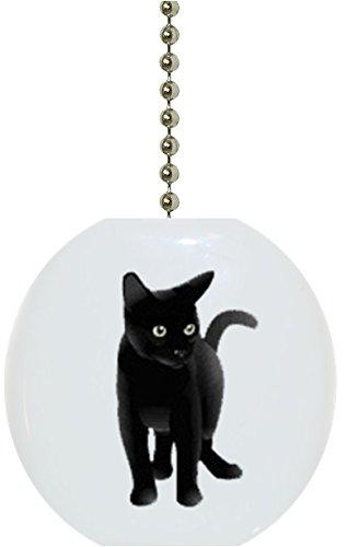 Black Cat Solid Ceramic Fan Pull ()