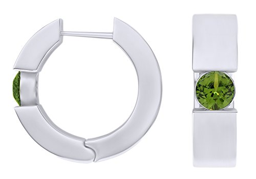 Round Cut Simulated Peridot Huggie Hoop Earrings In 14k White Gold Over Sterling Silver