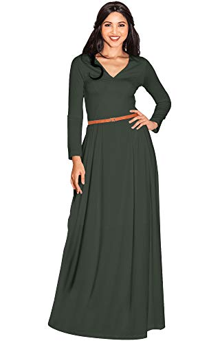 KOH KOH Women Long Full Sleeve Sleeves V-Neck Formal Fall Evening Elegant Flowy Empire Waist Modest Vintage Abaya Muslim Gown Gowns Maxi Dress Dresses, Olive Green M 8-10 (2)