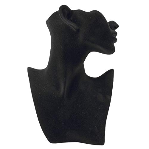 - Almencla Resin Female Mannequin Head Bust Stand Model Shop Jewelry Necklace Display - L+Black Velvet
