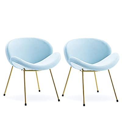 Altrobene Velvet Accent Dining Chairs, Living Room/Bedroom/Home Office Chair, Set of 2, Shell-Shaped, Gold Metal Legs, Blue - Modern accent dinging chair set with ergonomic balanced curved back & seat Sturdy, durable Integral steel construction with rich, shiny golden plating coat Double Thickened Human body engineering design shell shape wood board - kitchen-dining-room-furniture, kitchen-dining-room, kitchen-dining-room-chairs - 316M7WEP0CL. SS400  -