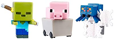 Minecraft Mini Figure (3 Pack) - Pig in Cart Spectral Damage Zombie Cave Spider in Webs