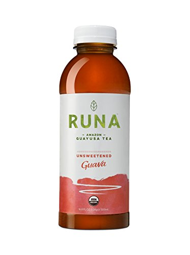 Runa Clean Energy Organic Guayusa Tea, Guava Unsweetened, 16.9 Ounce (Pack of 12)