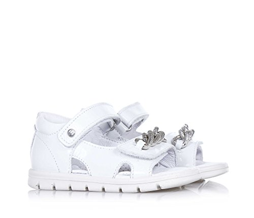 FALCOTTO - Sandale blanche en cuir brillant, idéale pour ramper et pour les premiers pas, douce et confortable, Fille, Filles