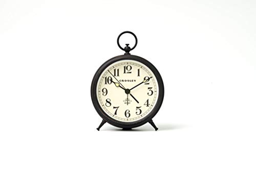 Timelink Metal Finial Crosley Vintage Desk and Shelf Alarm Clock, Old Fashioned Retro Style, Quiet Sweep-Non-Ticking, Battery Operated - Simple Settings, Black Antique Finish (Art Clock Deco Alarm)