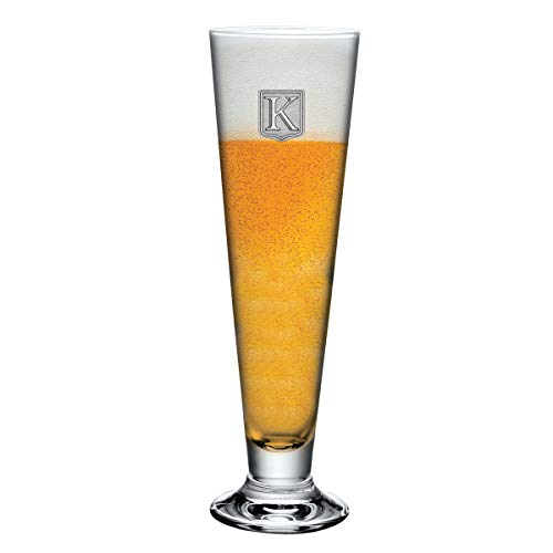 - Footed Pilsner Beer Glass Monogram Initial Pewter Engraved Crest with Letter K, by Fine Occasion (18 oz)