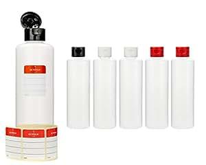6 botellas de plástico de Octopus de 250 ml, botellas de plástico de HDPE con tapones abatibles de colores, botellas vacías con tapa abatible de colores, botellas redondas con 6 etiquetas para marcar