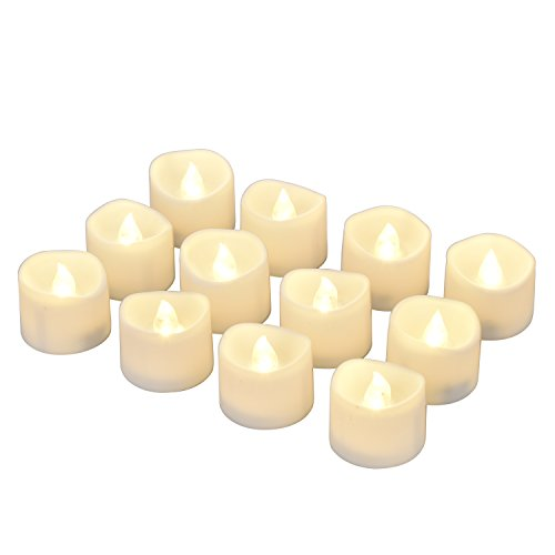 eLander LED Tea Lights Flameless Candle with Timer, 6 Hours on and 18 Hours Off, 1.4 x 1.3 Inch, Warm White, [12 ()