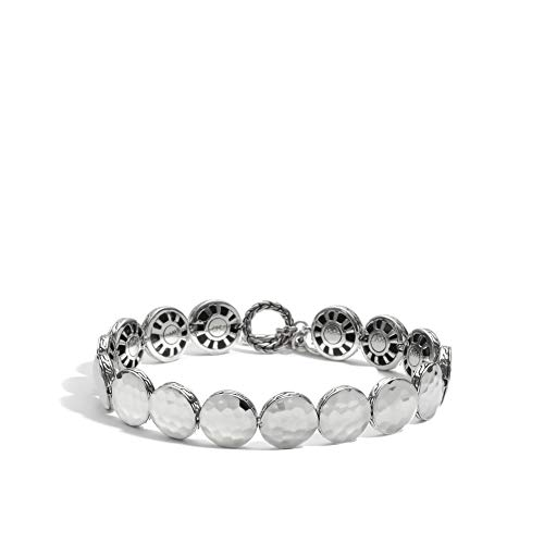 John Hardy Women's Dot Hammered Silver Small Round Disc Bracelet with Toggle Clasp, Size M ()