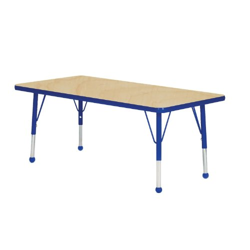 Mahar Kids 36'' X 60'' Rectangle Table Top Color: Maple, Edge Color: Blue, Leg Height: Standard 21''-30'', Glide Style: Ball by Mahar