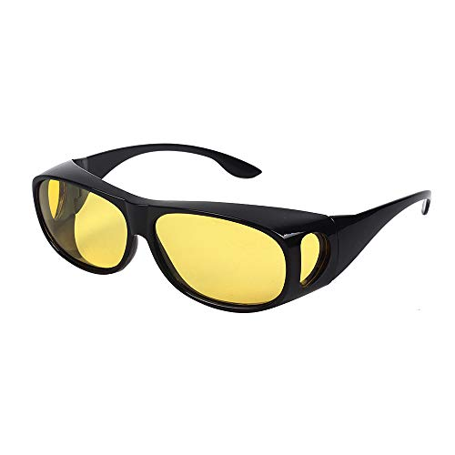 Thanksgiving Glass (HD NIGHT DAY VISION DRIVING WRAP AROUND ANTI GLARE SUNGLASSES WITH POLARIZED LENSE FOR MAN AND WOMEN (Night Vision yellow lens+Bright black Frame))