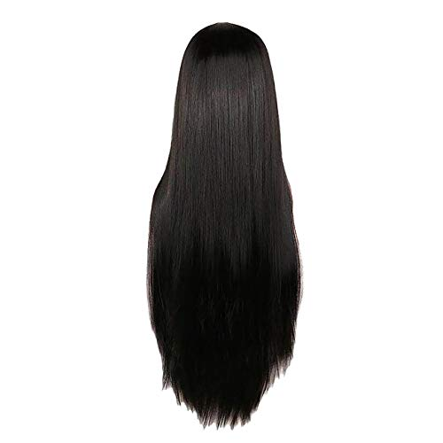 CoolCool Wig Women's Long Straight Hair 28 Inches Black Ultra Soft Heat Resistant -