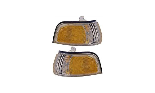 93 Honda Accord Corner (Evan-Fischer EVA20572054950 Corner Light Set of 2 Passenger & Driver Side RH LH Lamp Park Parking Marker Plastic lens Clear and amber DOT, SAE approved)