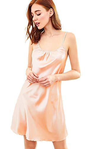 SweatyRocks Women's Sexy Nightgown Satin Chemise Lingerie Sleeveless Sleepwear Dress Full Slip Red Medium