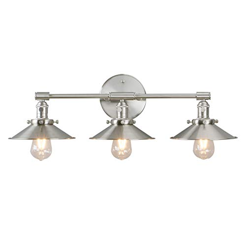 Phansthy Vanity Lights 3 Lights Wall Sconce with 7.87 Inches Metal Lamp Shade (Brushed Nickel)