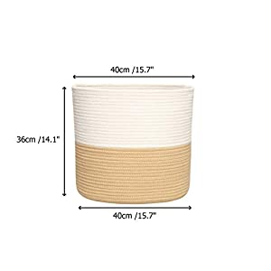 yukimocoo L Size – Laundry Basket, Cotton Rope Basket with Handles, Nursery Hampers, Storage Basket for Dog Toys, Children&Kids Toys, Woven Basket, Clothes Hamper, Environmental Protection Material