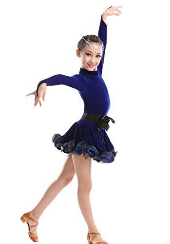 [Happy Cherry Kids Girls Leotard Dance Dress Latin Rumba Samba Salsa Dancewear for 10-11Y Blue] (Holloween Costumes Designs)