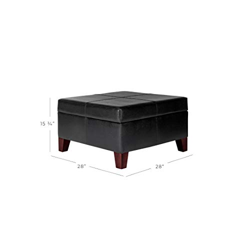 HomePop Large Black Faux Leather Storage Table Bench Living Room Bedroom by HomePop (Image #8)'