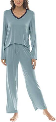 JINSHI Women's Pajamas Set Long Sleeve V Neck Sleepwear Ligitweight Long Pants Comfy Pj Lounge Set with Pockets