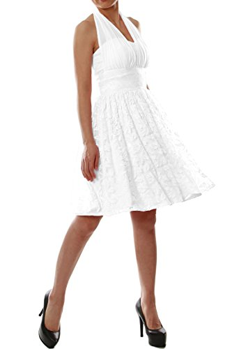 MACloth Women Halter Lace Short Bridesmaid Dress Wedding Party Cocktail Gown (4, White-A)