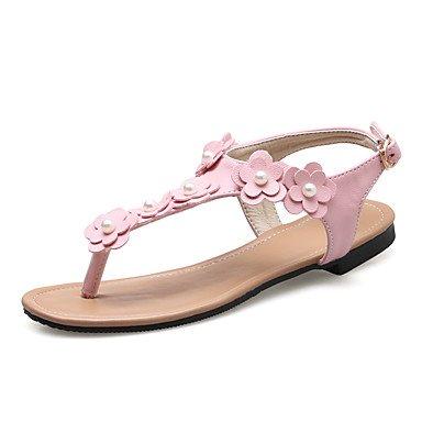 YFF Donna Sandali Slingback PU tacco piatto fiore,Arrossendo Pink,noi9.5-10