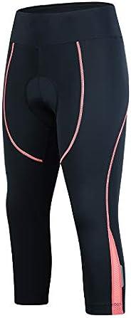 Padded Bike Pants Women Cycling Pants Biking Compression 3/4 Tights Bicycle Capris Pocket