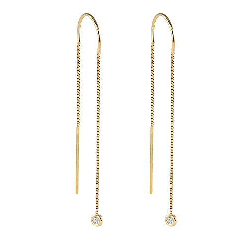 Diamond Earrings,Box Chain Earrings Jewelry,0.05 tcw Round Brilliant Cut Gold Earrings,Real Withe Small Diamond G-H SI1Earrings,14k Yellow Rose and White Drop Earrings,Diamond Hanging Earrings Ladies