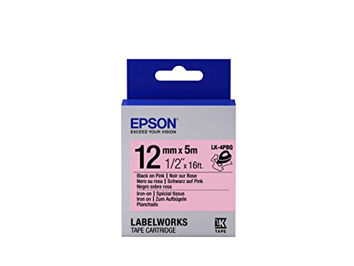 "Epson LabelWorks Iron-on LK (Replaces LC) Tape Cartridge ~1/2"" Black on Pink (LK-4PBQ) - For use with LabelWorks LW-300, LW-400, LW-600P and LW-700 label printers"