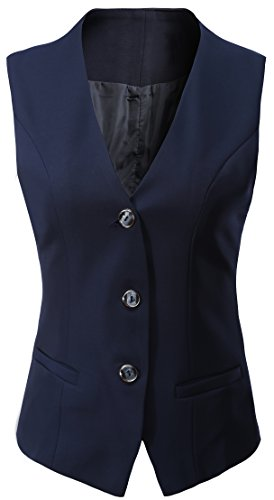 Vocni Women's V-Neck Sleeveless 3 Button Fully Lined Slim Fit Economy Dressy Suit Vest Waistcoat, US XS (Fit Bust 30.7