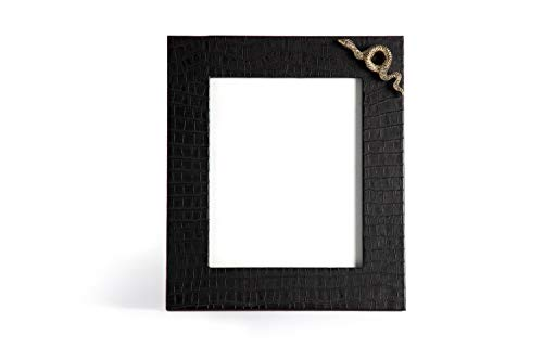 Carla Carstens Noir Black Croc Faux Exotics Large Leather Frame | 8 x 10 Suede Glass | Tabletop Desktop Photo | Wedding Personal Personalized ()