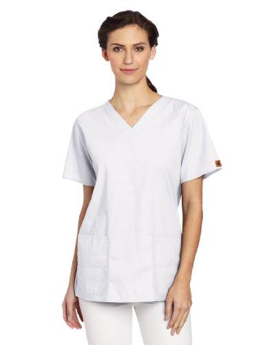 Carhartt Women's Scrubs V-Neck Two Pocket Top, White, - Pocket V-neck Top 2 Scrub