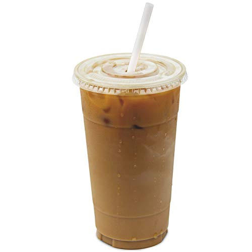 - 32 oz Clear Plastic Cups With Flat Slotted Lids for Iced Cold Drinks Coffee Tea Smoothie Bubble Boba, Disposable, Double Extra Large Size [100 Pack]