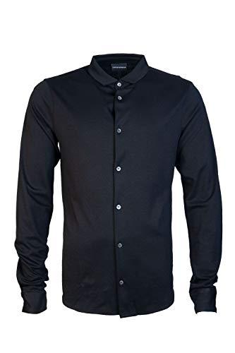 Armani Men's Slim Fit Jersey Cotton Shirt Black L
