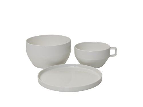 Place Porcelain Setting - Mikasa Dine3 3-Piece Porcelain Place Setting, White, Service for 1