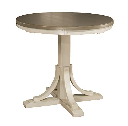 Hillsdale Furniture Counter Height Round Dining Table, Distressed Gray Sea White