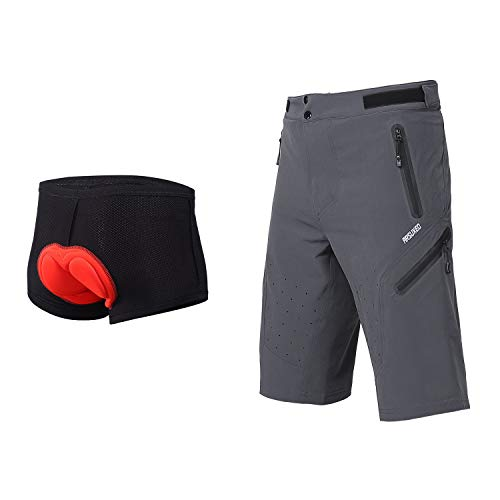 ARSUXEO Outdoor Sports Men's MTB Cycling Shorts Mountain Bike Shorts Water Resistant Gray with pad Size Medium