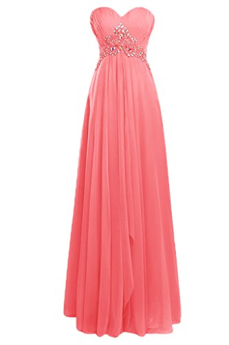 Topdress Women's Sweetheart Prom Dress Beaded Ruffle Chiffon Evening Gowns Coral US 24Plus