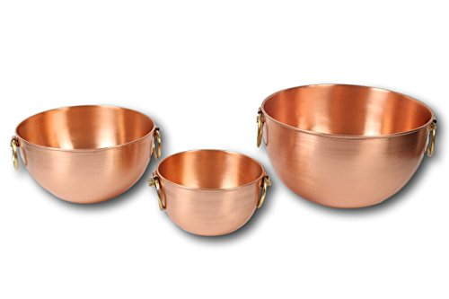 Palmyra by PureCopperware / Set of 3 Heavy Solid 100% Copper beating bowls, Mixing Bowl, Multipurpose Use for Candy, Salad, Egg Beating / Decorative Copper Bowls for your Kitchen / 100% Handcrafted by PureCopperware
