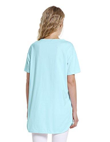 ZAN.STYLE Women's Plus Size Slub Cotton Tunic Tee Shirt Long T Shirt for Leggings Medium Style 2-Light Blue by ZAN.STYLE (Image #1)