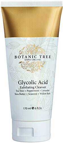 Glycolic Acid Face Wash Exfoliating Cleanser 6Oz w/10% Glycolic Acid, And AHA For Wrinkles and Lines Reduction-Acne Face Wash For a Deep Clean-100% Organic Extracts w/Tea Tree,Shea Butter,and Bamboo