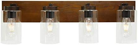 VINLUZ 4 Light Vintage Bathroom Lighting Fixtures Over Mirror Farmhouse Wooden Vanity Light Wall Mount Sconce