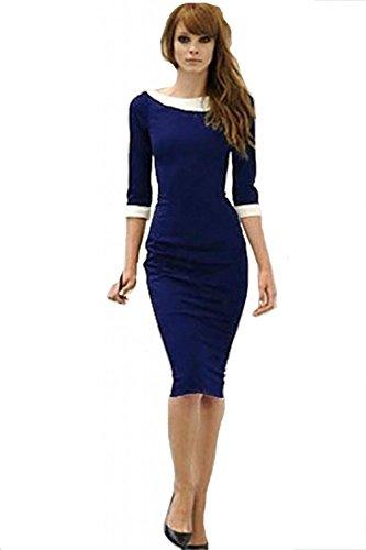 Coctail Longitud Lápiz Vestido 4 De Vestido 3 La Mangas Rodilla De Mujer Azul Del Vestido Bodycon Minetom q4Fx1wtxB