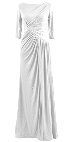 Dress Half Evening Boat Celebrity Neck Women Sleeve Weiß MACloth Gown Long Jersey vqB5wc0