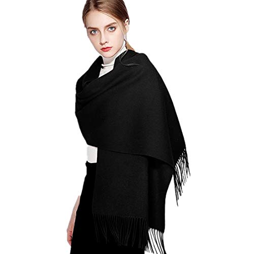 Solid Black Pashmina Shawls and Wraps No Fringe Cashmere Feel Scarf Extremly Soft 78quotx28quot Large Blanket Scarves Elegant Evening Wedding Festival Wraps with Tassels Lightweight and Warm
