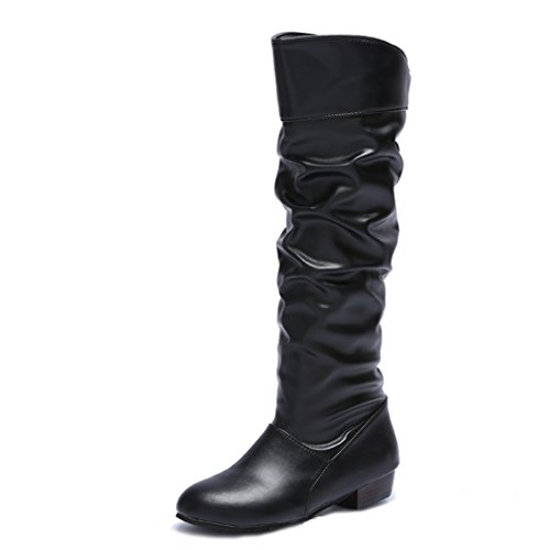Blivener Women's Casual Knee High Riding Boots Pull on Black