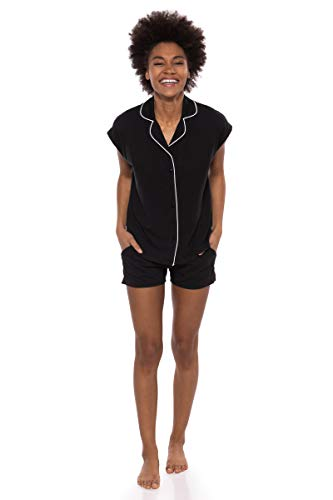 Texere Women's Jersey Shorts PJ Set (Civita, Black, XL) Holiday Present for ()