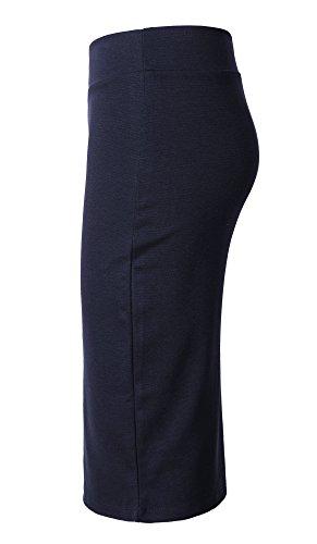 Taille Droite GoCo Jupe Urban Haute lasticit pour au Bodycon Midi Marine Femmes Genou Jupe Crayon Jupe Bleu xXPwd8qP